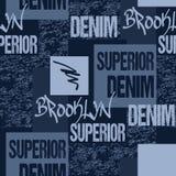 Drelichowa typografia, Brooklyn Nowy Jork grafiki odzież matrycuje Moda cajgów grafika Bezszwowy tkanina wzór dla oryginału royalty ilustracja