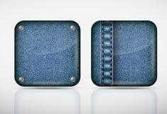 Drelichowe podaniowe ikony tekstura cajgi Zdjęcie Royalty Free