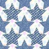 Drelichowej cajg tekstury wzoru bezszwowe gwiazdy Moda druk dla tkaniny lub opakowania royalty ilustracja