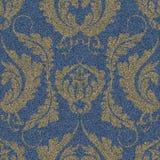 Drelichowy bezszwowy wzór z złocistym Damaszek drukiem Błękitny tło z wielkim kwiecistym ornamentem ilustracji