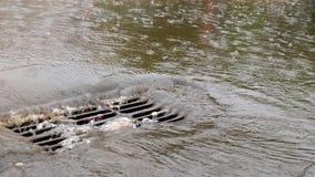 Dren de la tormenta con corriente en la lluvia en la ciudad almacen de video