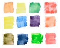 Drenaje colorido del cuadrado de la acuarela Imagen de archivo