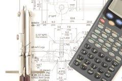 Drenaje con una calculadora imagen de archivo libre de regalías