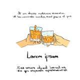 Drenaje de cristal Logo Color Icon de Toas de las alegrías de la bebida de la mano ilustración del vector