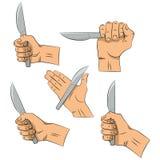 Drenaje de la mano Cuchillo a disposición Herramientas de la cocina Esquema que cocina gesto Cocinando la mano aislada en el fond ilustración del vector