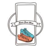 Drenaje de la mano de la etiqueta del zapato Foto de archivo libre de regalías
