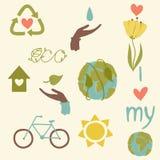 Drenaje de la mano de los iconos de Eco Fotos de archivo