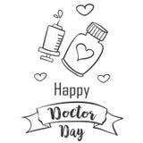 Drenaje de la mano del día del doctor de la colección libre illustration