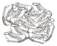 Drenaje de la mano del garabato del zapato Fotografía de archivo libre de regalías