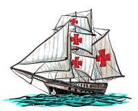 Drenaje de la nave de Columbus en el vector blanco Fotos de archivo