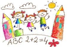 Drenaje de los cabritos kindergarten Escuela Niños felices en el patio Ejemplo del creyón ilustración del vector