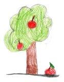 Drenaje de los niños. árbol con la manzana Fotografía de archivo libre de regalías