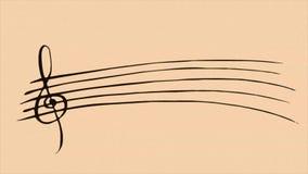 Drenaje de notas musicales sobre fondo de la sepia stock de ilustración