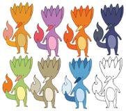 Drenaje divertido de la mano del sistema de color del monstruo de la historieta del fuego de la impresión ilustración del vector