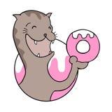 Drenaje divertido del gato hambriento stock de ilustración