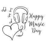Drenaje feliz de la mano del día de la música
