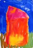 Drenaje a mano de un color de agua. Casa, prado Fotografía de archivo libre de regalías