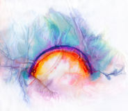 Drenched Rainbow. High-resolution scan of watery rainbow drawing on textured tissue paper Stock Photography