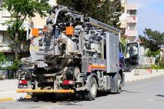 Drene el camión de la limpieza Foto de archivo libre de regalías