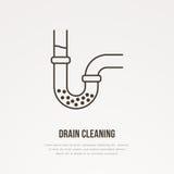 Drene la línea plana de limpieza icono Muestra del esquema del tubo de agua bloqueado Ejemplo del vector para la reparación o el  stock de ilustración