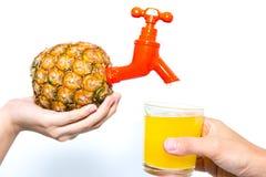 Drene o suco de abacaxi dentro a um vidro Foto de Stock Royalty Free