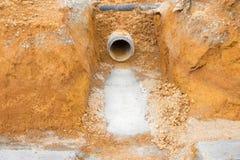 Drenes de excavación a evitar el inundar foto de archivo