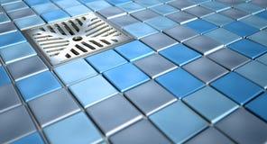 Dreno e mosaicos de assoalho do chuveiro fotos de stock royalty free