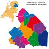 Drenthe - province of the Netherlands. Administrative division of the Netherlands. Map of Drenthe with municipalities Stock Photos