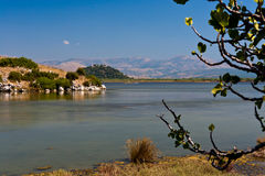 Drepano lake. Summer landscape in Drepano lake, Igoumenitsa, Greece Royalty Free Stock Photos