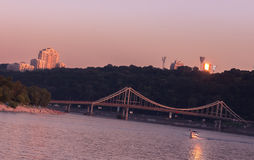 Drepr pejzaż miejski przy wieczór w Kijów i rzeka Obrazy Royalty Free