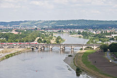 Dresda - Elbe e ponticello storico Immagine Stock Libera da Diritti