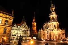 Dresda, Germania alla notte Fotografia Stock