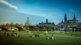 DRESDA, GERMANIA: Panorama del centro di Dresda Città Vecchia Fotografia Stock Libera da Diritti