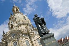 Dresda, statua del Martin Luther Fotografia Stock