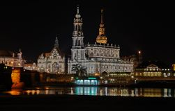 Dresden. View to the center of dresden at midnight Royalty Free Stock Photography