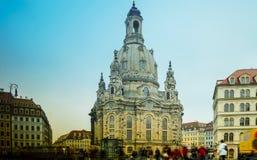 DRESDEN, ALEMANHA: Igreja de Dresden Frauenkirche literalmente de nossa senhora imagens de stock