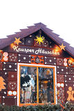 Dresden, Alemania, el 19 de diciembre de 2016: Casa de pan de jengibre en el mercado de la Navidad en Dresden, Alemania Inscripci Fotos de archivo libres de regalías