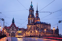 Dresden architecture from Augustus Bridge Royalty Free Stock Photos