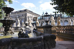 Dresden,august 28:Zwinger Nymphs Bath Pavilion fountain from Dresden in Germany Stock Photos