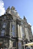 Dresden, 28 Augustus: Dichte omhooggaand van kathedraalfrauenkirch van Dresden in Duitsland Stock Afbeeldingen