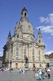 Dresden, 28 Augustus: Kathedraal Frauenkirch van Dresden in Duitsland Stock Foto
