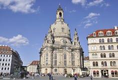 Dresden, 28 Augustus: Kathedraal Frauenkirch van Dresden in Duitsland Stock Foto's