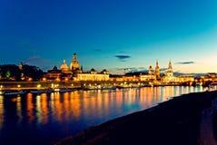 Dresden bij nacht Royalty-vrije Stock Foto's