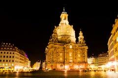 Dresden bij nacht Stock Foto
