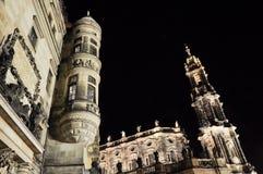 Dresden bij Nacht, Duitsland Stock Foto's