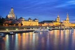 Dresden bij nacht, Duitsland Royalty-vrije Stock Afbeelding