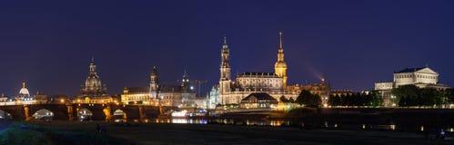 Dresden bij nacht - Oude stad Stock Fotografie
