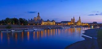 Dresden bij schemering Stock Afbeelding