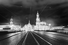 Dresden buildings in Schlossplatz at night, Germany. View from c. Ity bridge Stock Image