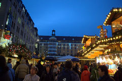 Dresden busy Christmas market Royalty Free Stock Photo